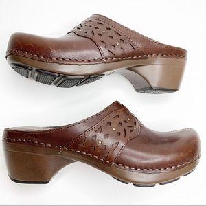 Dansko Leather Slip on Mules Clogs Size 37